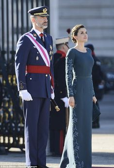 As Supreme Commander of the Armed Forces, her husband Felipe, 48, donned his full military regalia for the event; the third that he has attended as king