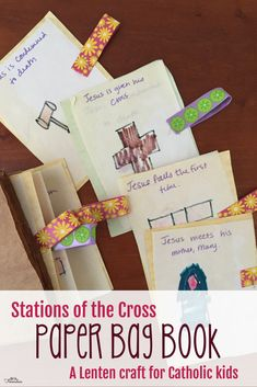 Lenten craft for Catholic Kids: paper bag stations of the cross book