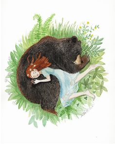 Sleeping Friends art print watercolor by KatkalandShop on Etsy Illustration Girl, Watercolor Illustration, Watercolor Art, Bear Drawing, Bear Art, Fine Art Paper, Pet Birds, Art Drawings, Cool Art
