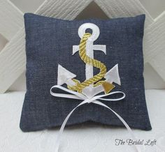 Nautical Wedding Ring Pillow, Anchor Ring Bearer Pillow by BridalLoft, $15.95
