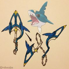 Sharpedo's spirit weapon: may the dark, deep water of aggression be alongside you with this nunchuck-lance weapon. Conditions to wield: be a sailor and go to the stormiest sea infested with sharpedo water.