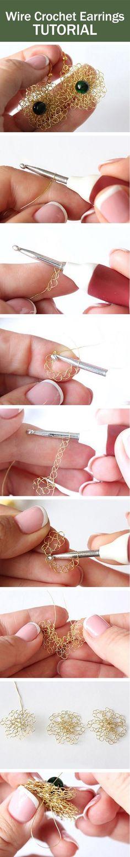 Wire crochet earrings tutorial / Вяжем крючком серьги из проволоки