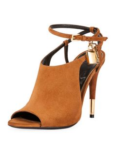 Yessssss!!!!!  Lock+Suede+Open-Toe+Ankle-Wrap+Bootie,+Biscuit+by+TOM+FORD+at+Neiman+Marcus.łl