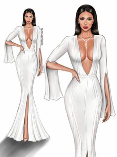 """"""" Amra dressed in White """" drawing of by Assaad Bou Mjahed . Dress Design Sketches, Fashion Design Sketchbook, Fashion Design Drawings, Fashion Sketches, News Fashion, Fashion Art, Fashion Models, Fashion Styles, Fashion Drawing Dresses"""