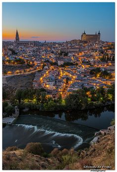 Lights lit on Toledo, Spain