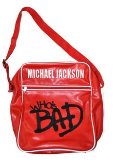 "Michael Jackson 2009 ""Who's Bad"" Red Vinyl Bag Purse Official Product Bravado."
