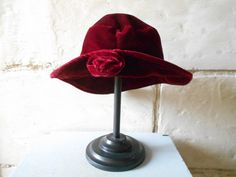 Pretty French dark red velvet hat, trilby hat fantasy hat with flower, Boho women's clothings accessories. Fedora hat. Garnet red hat.
