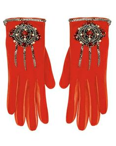 """Chanel """"Paris-London"""" embroidered red gloves"""