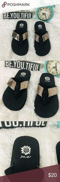 7d14f91e6054bd Yellow Box Black and Rose Gold Flip Flops Very comfortable with cushion for  walking Perfect for