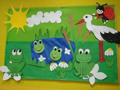 Class Decoration, School Decorations, Seasons Activities, Activities For Kids, Fun Arts And Crafts, Crafts For Kids, Nursery Display Boards, Frog Theme, Spring Animals