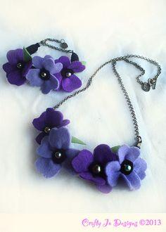 Violet felt flower jewellery set - Crafty Jo Designs