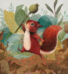 Illustration By Olivia Chin Mueller Art And Illustration, Squirrel Illustration, Illustration Children, Art Illustrations, Squirrel Art, Wow Art, Woodland Creatures, Forest Animals, Cute Art