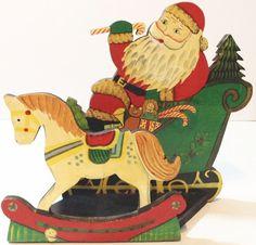 Vintage Handmade Wooden Christmas Card Holder