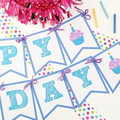 Create a fun birthday banner with this free printable!