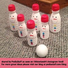Snowman Bowling!! Thank You! to @K . Howland for permission to re-gram and blog this adorable idea. She uses them in speech for reward activity and for social skills turn taking, etc.  How much work completed determined how many times the kids could bowl.  Looks like these are those International Flavors creamer containers.  ADORABLE!! Like our instagram posts?  Please follow us there at instagram.com/pediastaff