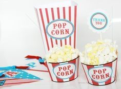 Carnival Theme Party Pack - includes info on making popcorn cupcakes