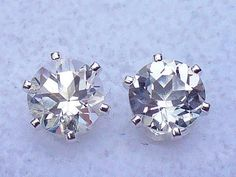NEW Sterling Silver EARRINGS 4mm 1/2ct each Top Quality & Luster White TOPAZ #Handmade #Stud