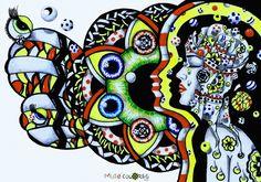 O amor quê ser visto pra pudê ser reconhecido O amor quê ser dado para pudê ser compartilhado Não tenha Medo Sô! Modiqui ele é como Pólvora  Tem Chama Infinita. Primeiro acende Depois é semeado e si espalha nu vento do Oiá. Como suspiro Suspenso  Feito bola de Sabão  Avuou/ 2013  Marker, canetas em canson A3  Coleção Muié Colores