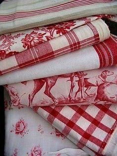 Red and white toile and plaid White Cottage, Cottage Style, French Cottage, French Fabric, Linens And Lace, White Linens, Red Gingham, French Country Decorating, Country French