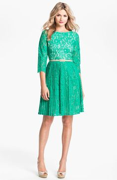 Eliza J Belted Lace Fit & Flare Dress $178.00