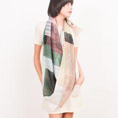beautiful silk scarf with watercolor-y geometric pattern, $249