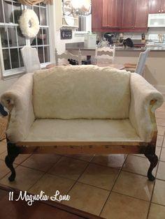 Reupholstery My Thrift Store Loveseat Redo {Part – 11 Magnolia Lane Furniture Update, Furniture Making, Furniture Makeover, Furniture Decor, Dream Furniture, Painting Furniture, Furniture Arrangement, Modern Furniture, Reupholster Furniture