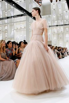 Neutral tan A line dresses at Christian Dior Fall...