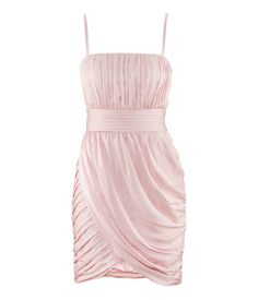 H draped dress in matte satin with detachable straps