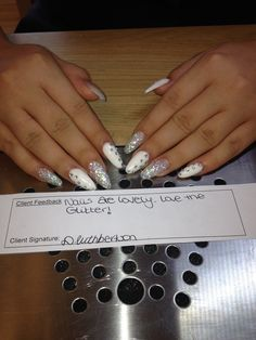 #white #stiletto #glitter #practice #dazzlerocks #gems #nails