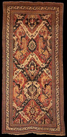 "Early Caucasian Dragon rug, 18th century, Khanate Period, Shusha or Kuba, Azerbaijan. The John D. McIlhenny Collection. Philadelphia Museum of Art. 220 x 463 cm (15'2"" x 7'3""). inv. no. 43-40-65"
