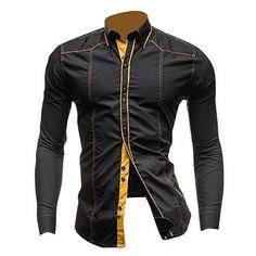 jeansian Hommes Chemise Casual Slim Fit Trend Fashion Mens Shirt 8695: Men Fashion Slim Shirt USA slim fit size available: XS S M L Size:…