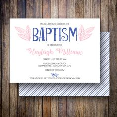 Spotted Gum Design | Mod Leaf Baptism Invitation, Mod Leaf Baptism Invite, Baptism Invite With Leaves  - Mod Leaves in Navy and Pink #spottedgumdesigns #inglishdigidesign #etsy