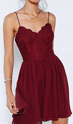 Chiffon Homecoming Dresses,Elegant Mini Evening Dresses,Wine Red Cocktail Dresses, Spaghetti Strap 2016 Popular Homecoming Dresses