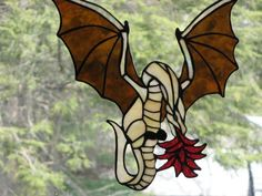 Custom Made Fire-Breathing Dragon Stained Glass Art