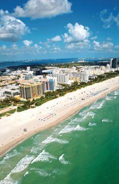 Miami's cosmopolitan South Beach from above.