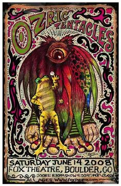 Original concert poster for Ozric Tentacles at the Fox in Boulder, Colorado. 11x17 card stock. Art by Darren Grealish.