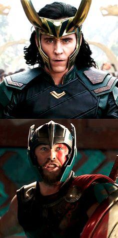 Tom Hiddleston as Loki And Chris Hemsworth as Thor Loki Thor, Loki Laufeyson, Tom Hiddleston Loki, Loki Gif, Marvel Avengers, Loki Marvel, Dc Movies, Marvel Movies, Asgard