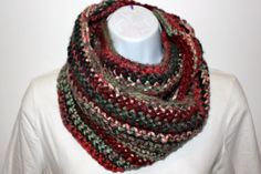 READY to SHIP HOLIDAY Infinity Scarf/Cowl, Hand Crochet, Single Strand, Soft and Chunky, Other Colors Avaialble