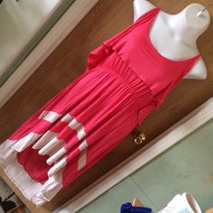 """Coral/pink & tan hi-lo dress Coral/pink & tan hi-lo ruffle dress. Brand new with tags. Adjustable straps. Super soft material. Size 4x. 95% rayon 5% spandex. 27"""" from armpit to armpit. Super stretchy Rouge Dresses High Low"""