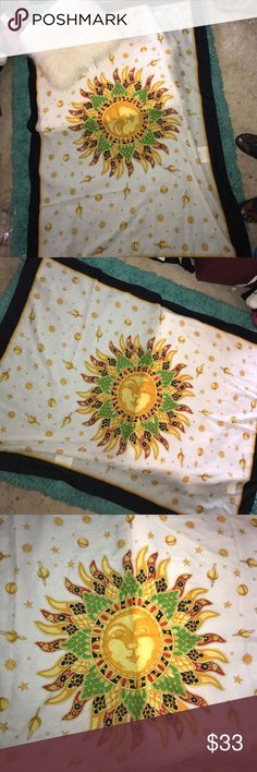 Beautiful large Sun design wall cover/wrap scarf 60x44 for use as a throw-wall hanging-wrap scarf etc. excellent condition. 100% polyester made in Italy sun Accessories Scarves & Wraps