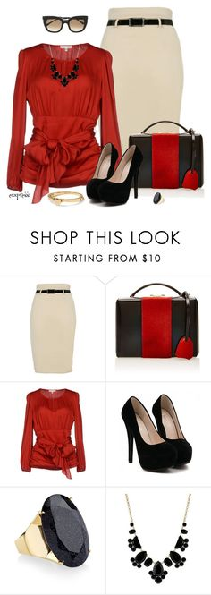 """""""Put the red in Valentine's Day"""" by exxpress ❤ liked on Polyvore featuring Mark Cross, Paule Ka, Kate Spade, Monsoon, Thierry Lasry, pencilskirt, valentines, outfitonly and valentinesday2015"""