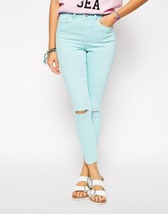 Asos ridley high waist ultra skinny ankle grazer jeans in pale turquoise with tipped knees