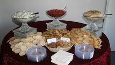 Appetizer Station-Spinach and Artichoke Dip, Bruschetta and Hummus