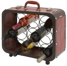"Vintage Suitcase Case Wine Rack  www.LiquorList.com  ""The Marketplace for Adults with Taste"" @LiquorListcom   #LiquorList"