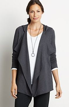 Pure Jill cascading hoodie. Dark charcoal heather -- a color I'd never heard of, but J Jill has a number of products in this color. Loose and flowing.