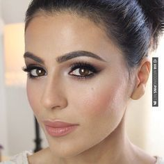 Don't care for the lip color, but I do like the eyes. wedding makeup for brunettes - Google Search #lipcolorsforbrunettes #weddingmakeup #weddinglipcolors #lipstickcolor