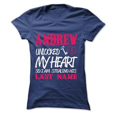 #tshirts... Nice T-shirts (Superior T-Shirts) ANDREW UNLOCKED MY HEART SO I AM STEALING HIS LASTNAME IN RETURN from MechanicTshirts  Design Description: OTHER CUSTOMIZED NAMES AVAILABLE AT http //tshirtdeals.org/identify/identify-unlocked-listing.html .... Check more at http://mechanictshirts.xyz/automotive/awesome-t-shirts-andrew-unlocked-my-heart-so-i-am-stealing-his-lastname-in-return-from-mechanictshirts.html