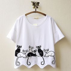Black and White Cat Embroidery Short Sleeve T Shirt by alma green