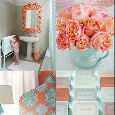 Laundry room colour inspiration. Aqua, white & black, or corral. Hmmm.