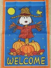 """SNOOPY AND WOODSTOCK """"WELCOME"""" SCARECROW HOUSE FLAG 28""""X40"""" NEW IN PKG"""